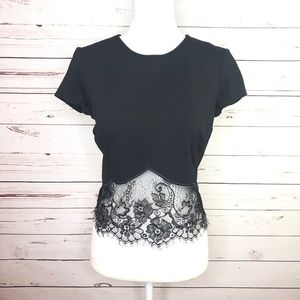 BEBE Short Sleeve Black Lace Crop Top MED M